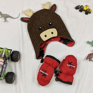 Reindeer Hat and Mittens, Size 2T-4T